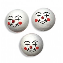 3 Medium Spun Cotton Clown Heads with Red Noses 1""