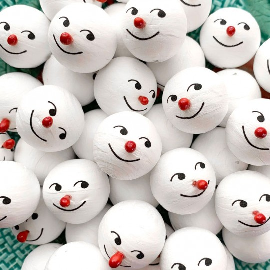 """3 Medium Spun Cotton Snowman Heads with Red Noses 1"""""""