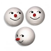 3 Medium Spun Cotton Snowman Heads with Red Noses 1""
