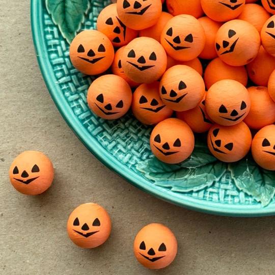 "5 Small Spun Cotton Pumpkin Jack-O-Lantern Heads in Orange 3/4"""