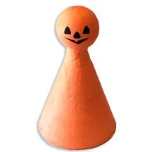 """2 Spun Cotton Pumpkin Jack-O-Lantern Figures in Orange ~ 2-3/8"""" tall"""