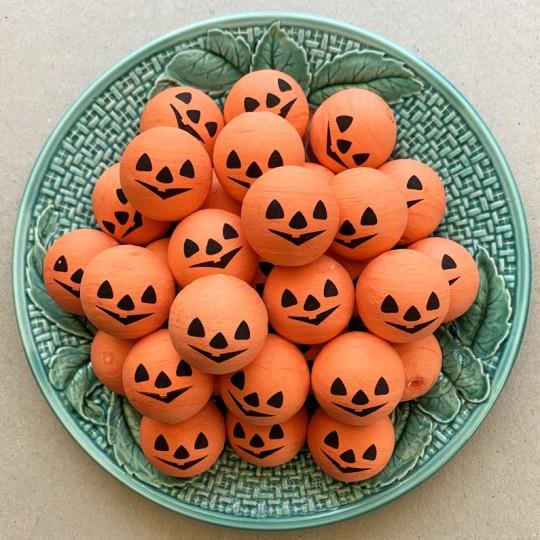 """2 Large Spun Cotton Pumpkin Jack-O-Lantern Heads in Orange 1-1/4"""""""