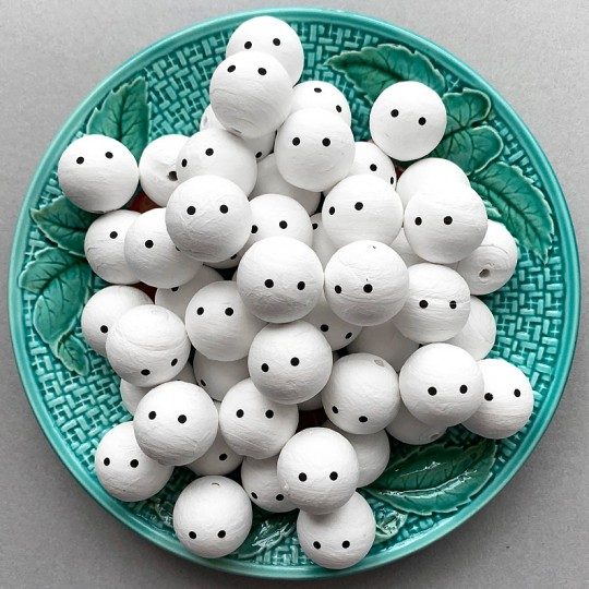 """3 Medium Spun Cotton Snowman or Ghost Heads with Just Eyes 1"""""""
