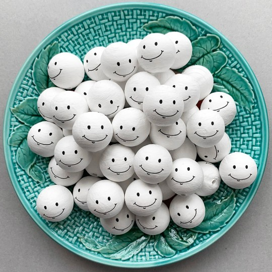 """3 Medium Spun Cotton Snowman or Ghost Heads with Sweet Smile 1"""""""