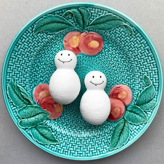 """4 Spun Cotton Snowmen with Sweet Smile 2-1/2"""" for Vintage Style Crafts"""