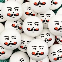 "5 Large Spun Cotton Nutcracker or Santa Heads in White 1-1/4"" (31mm)"