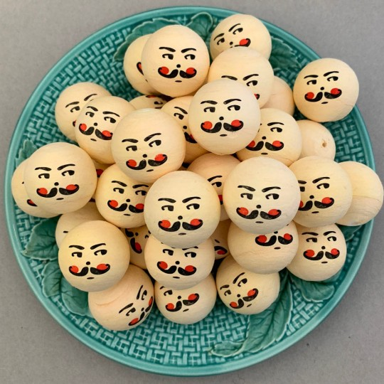 """5 Large Spun Cotton Nutcracker or Santa Heads in Pale Yellow 1-1/4"""" (31mm)"""
