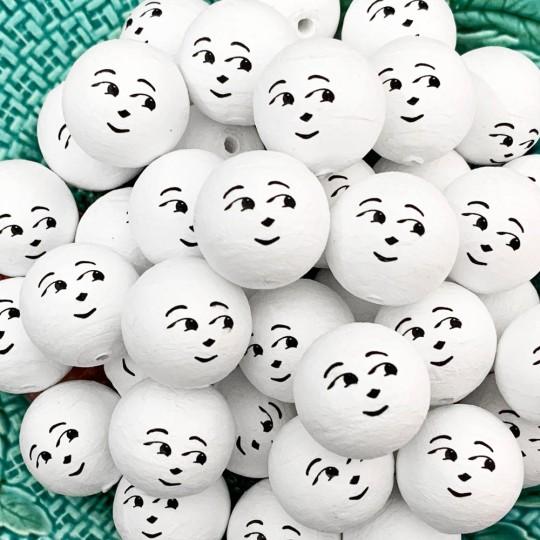 "5 Spun Cotton Snowman Heads in White 1"" (24mm)"