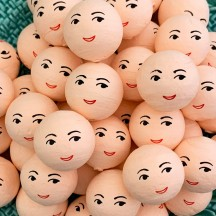 """5 Spun Cotton Elf or Doll Heads in Natural 1"""" (24mm)"""