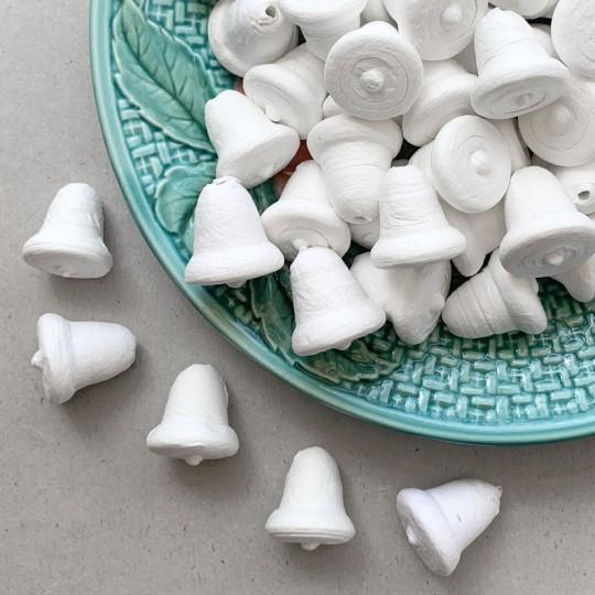 """6 Spun Cotton Miniature Bells 7/8"""" ~ Czech Republic"""