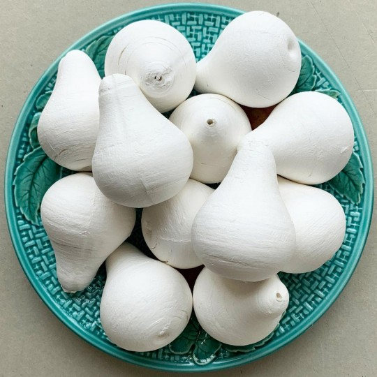 "4 Large Spun Cotton Pears 2-1/2"" ~ Czech Republic"