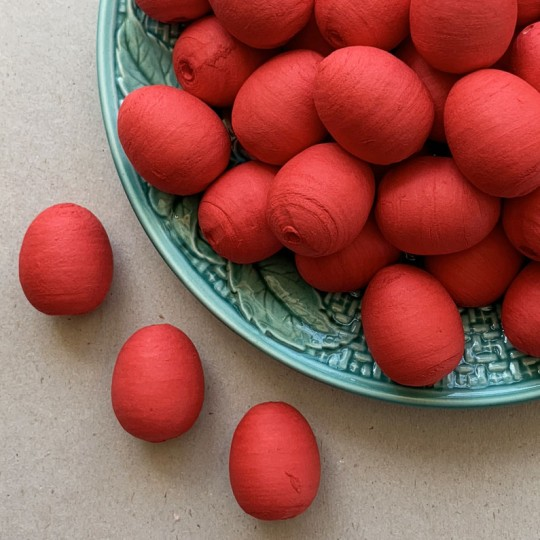 "5 Spun Cotton Red Eggs or Berries 1-1/8"" ~ Czech Republic"