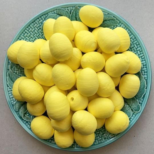 "5 Spun Cotton Yellow Eggs or Berries 1-1/8"" ~ Czech Republic"