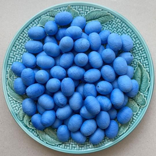 "12 Spun Cotton Bright Blue Eggs or Berries 7/8"" ~ Czech Republic"