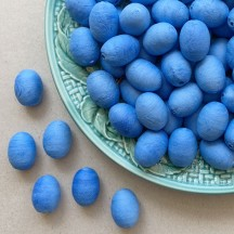"12 Spun Cotton Blue Eggs or Berries 7/8"" ~ Czech Republic"