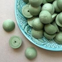 """6 Spun Cotton Half Balls, Hats, Mushroom Caps in Green 1-1/8"""" ~ Czech Republic"""