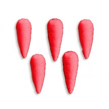 "8 Small Bright Red Spun Cotton Carrots 1-1/8"" ~ Czech Republic"