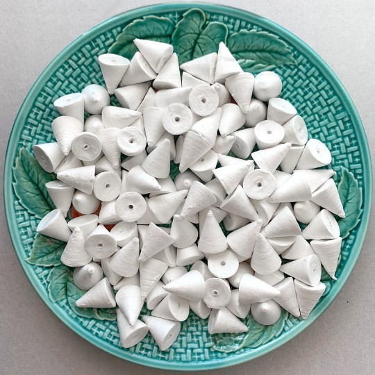 "10 Spun Cotton Cones, Mushroom Caps or Hats 7/8"" Vintage Craft Supply"