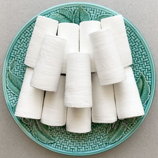 "3 Tree Trunks, Peg Bodies or Tapered Cylinders Spun Cotton Craft Shapes 2-3/8"" ~ Czech Republic"