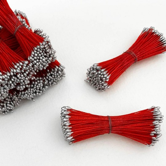 SIlver and Red Stamen Peps for Flower Making and Holiday Crafts