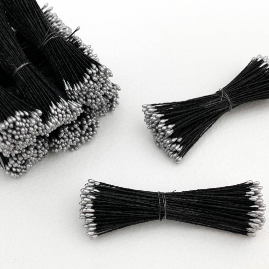 Silver and Black Stamen Peps for Flower Making and Holiday Crafts