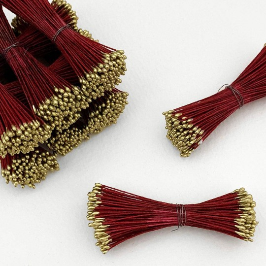 Gold and Burgundy Stamen Peps for Flower Making and Holiday Crafts