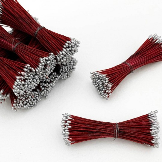 Silver and Burgundy Stamen Peps for Flower Making and Holiday Crafts