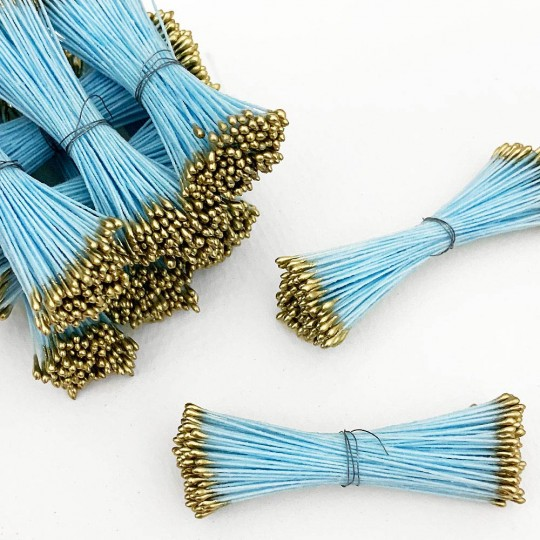 Gold and Light Blue Stamen Peps for Flower Making and Holiday Crafts