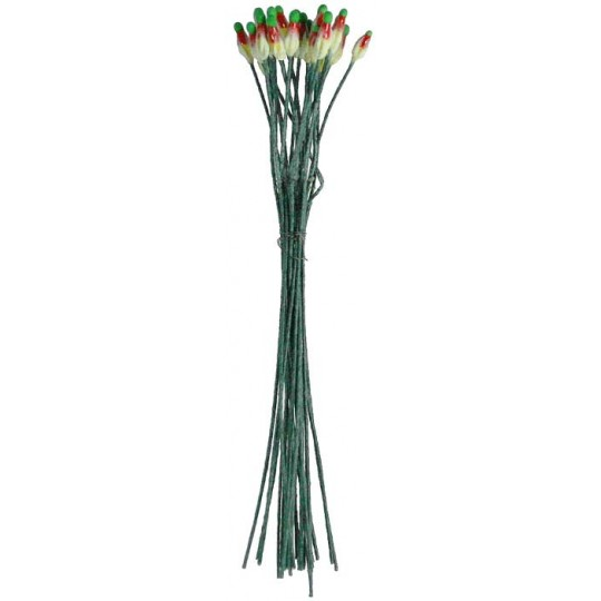 Extra Long Red, Yellow and Green Vintage Czech Flower Stamen