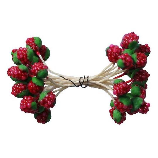 "18 Miniature Red Raspberries ~ 3/8"" ~ Czech Republic"