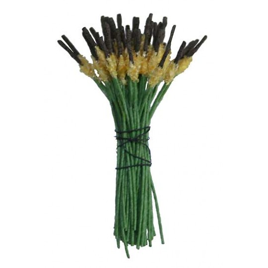Flocked Yellow, Brown and Green Cattail Stamen ~ Germany