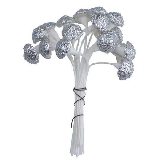 Petite Metallic Textured Silver Mushroom Stamen ~ Germany