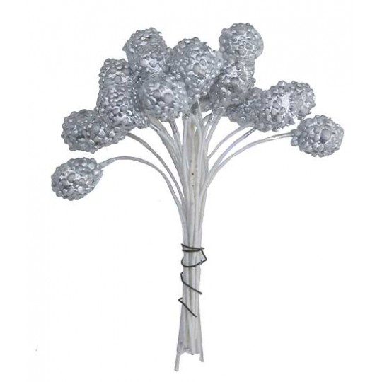 Metallic Textured Silver Berry Stamen ~ Germany