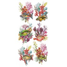 1 Sheet of Stickers Mixed Colorful Fish and Coral