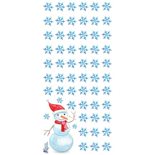 1 Sheet of Stickers Snowman and Snowflakes