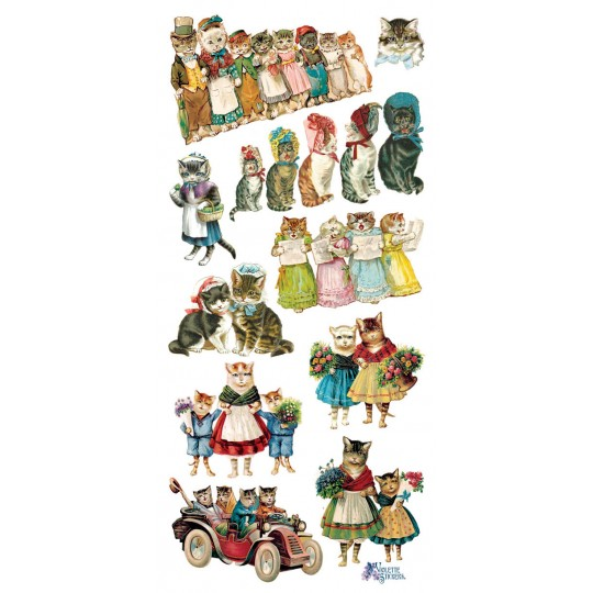 1 Sheet of Stickers Mixed Charming Kitty Cats in Bonnets