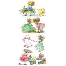 1 Sheet of Stickers Mixed Easter Bonnet Girls