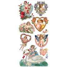 1 Sheet of Stickers Mixed Valentine Angels and Hearts