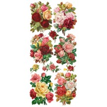 1 Sheet of Stickers Mixed Vintage Rose Bouquets