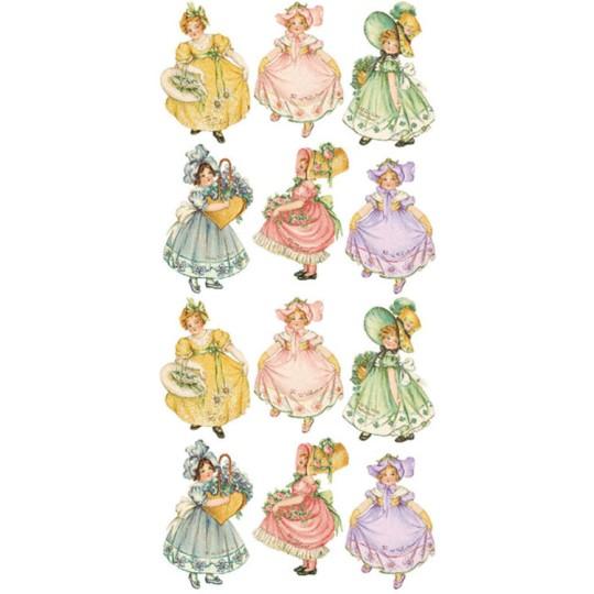 1 Sheet of Stickers Pastel Girls in Bonnets