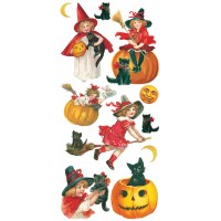 1 Sheet of Stickers Halloween Girls and Black Cats
