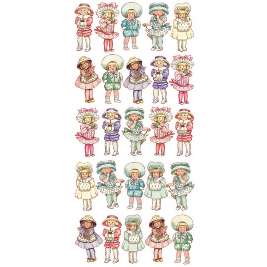 1 Sheet of Stickers Mini Pastel Victorian Children