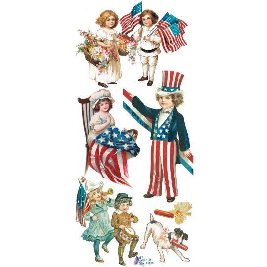 1 Sheet of Stickers Patriotic Children July 4th