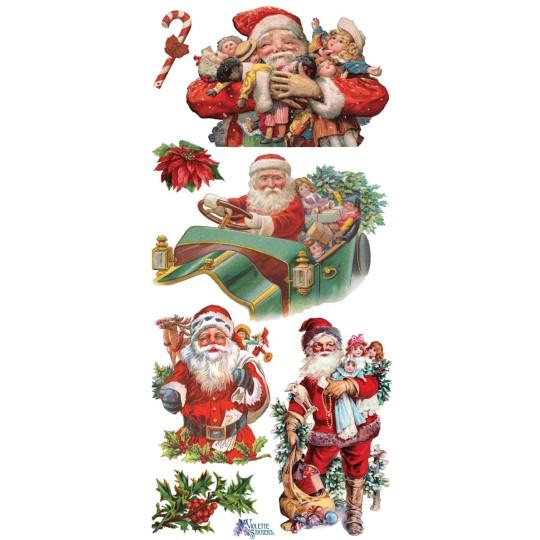 1 Sheet of Stickers Victorian Santas