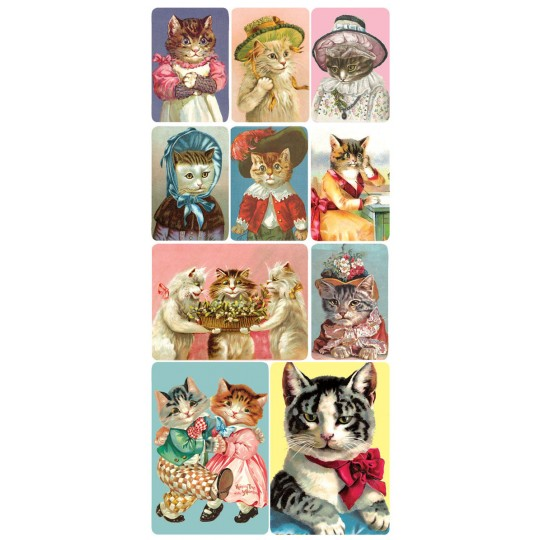 1 Sheet of Stickers Victorian Cats