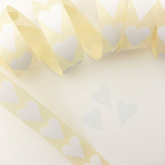 "Small White Heart Stickers ~ 7/8"" ~ 72 Stickers"