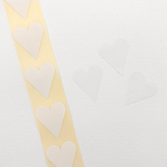 """Small White Heart Stickers ~ 7/8"""" ~ 72 Stickers"""