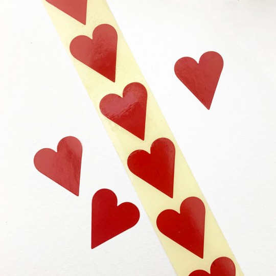 """Small Red Heart Stickers ~ 7/8"""" ~ 72 Stickers"""