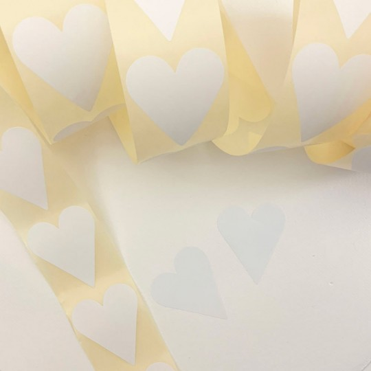 "Large White Heart Stickers ~ 1-7/8"" ~ 54 Stickers"