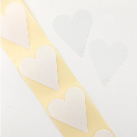 """Large White Heart Stickers ~ 1-7/8"""" ~ 54 Stickers"""